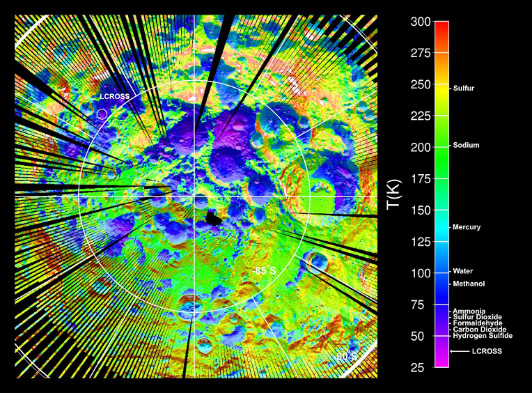 Temperature of the surface around the southern pole of the moon according to LRO data © NASA.